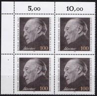 "BRD, 1992 Nr. 1601 **,  Viererblock Mit Eckrand Oben Links, ""Konrad Adenauer"" - [7] République Fédérale"