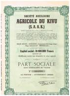 """Ancienne Action  Congolaise - Société Auxiliaire Agricole Du Kivu  """" S A A K""""- Titre De 1948 -N°005393 - Afrika"""