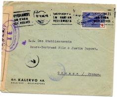 FINLANDE.1944.L.S.pour FRANCE.CENSURES. THEME:CROIX-ROUGE. - Croix-Rouge