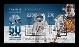 Bosnia And Herzegovina (Serbian) 2019 Mih. 802/03 (Bl.42) Space. Apollo-11. Moon Landing MNH ** - Bosnia And Herzegovina