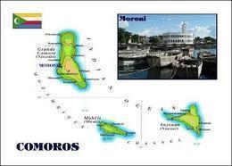Comoros Islands Map Comores New Postcard Komoren Landkarte AK - Comoren