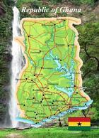 Ghana Country Map New Postcard Landkarte AK - Ghana - Gold Coast