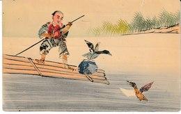 Chine Carte Artisanale Collage Pêcheur Avec Oiseau - Chine
