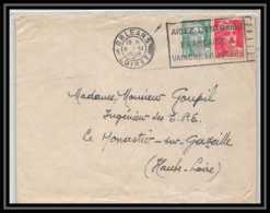 6404/ France Lettre (cover) N°807 + 721a Gandon Flier Orleans 1948 Pour Le Monastier-sur-Gazeille Haute Loire - 1945-54 Marianne De Gandon