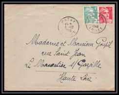 6405/ France Lettre (cover) N°807 + 721a Patay Loiret 1948 Gandon Pour Le Monastier-sur-Gazeille Haute Loire - 1945-54 Marianne De Gandon