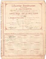 Titre Ancien - L'Ouvrier Condruzien - Société Anonyme à Havelange - Titre De 1901 - Rare - Industrie