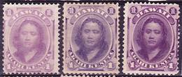 Hawaii 1871-1886 Lot Of Princess Victoria Kamamalu Definitives, Different Colour Versions Mi 19a-c, MNG (*) - Hawaii