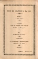 Superbe Menu Officiel Ancien Du 14 Mai 1896 Au PALAIS ROYAL - Menus