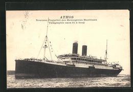 AK Passagierschiff Athos, Noveau Paquebot Des Messageries Maritimes Tèlègraphie Sans Fil à Bord - Paquebots