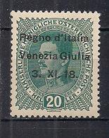 VENEZIA GIULIA 1918  FRANCOBOLLI D'AUSTRIA SOPRASTAMPATI SASS. 20  MNH XF - 8. WW I Occupation