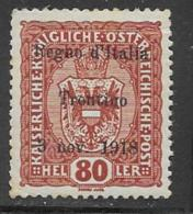 Italy Occupation Austria Scott # N45 Mint Hinged Austrian Stamp Overprinted, 1918, CV$160.00, Gum Crease Across Top - Austrian Occupation