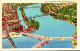 Ohio Zanesville Aerial View Of Y Bridge Curteich - Zanesville