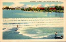 Ohio Zanesville Muskingum River Dam From Y Bridge Curteich - Zanesville