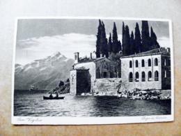 Old Post Card Carte Karte Italy 1928 San Vigilio Lago Di Garda Mountains Berge Montagnes Riva - 1900-44 Vittorio Emanuele III