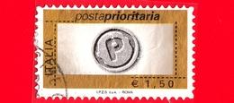 ITALIA - Usato - 2007 - Posta Prioritaria, Senza Numerale - 1,50 - Impronta Della Lettera P - 6. 1946-.. Repubblica