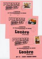 LOZERE 3 X ENV 2006 TARIF HORS SAC VOIR SCANS ET DESCRIPTION => - Storia Postale