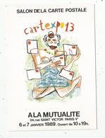 Cp, Bourses & Salons De Collections, CARTEXPO 13 à La Mutualité ,Paris ,1989,illustrateur: R. MOSNER ,vierge - Bourses & Salons De Collections
