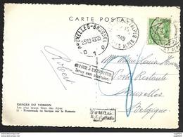 Carte De St Andre Les Alpes Pour La Belgique-Retour à L'envoyeur-Gandon N°809 - Postmark Collection (Covers)