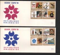 RWANDA / 2 FDC's Du 24.08.1970 / EXPOSITION D'OSAKA 1970 - Rwanda