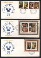 RWANDA / 9 FDC's Du 23.09.1974 / STOCKHOLMIA - INTERNABA - U.P.U. 1974 - 1970-79: FDC