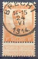 N°116 - 1Fr. Orange, Obl. Sc BRECHT 24-VI-1914 - 14880 - 1912 Pellens