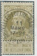 N°75 - 20c. Olive Obl. Sc Ambulant BRUXELLES-LUTTRE-NAMUR Le 11 Mars 1908 - 14885 - 1905 Grove Baard