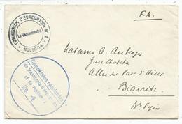 LETTRE FM COMMISSION D'EVACUATION N°1 MOLSHEIM + TRANSPORTS + VERSO CAPITAINE AUBERGER - Marcophilie (Lettres)