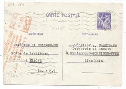 ENTIER IRIS 1FR20 CP MIXTE  EMA 1.30 BEZONS 12.II.1946 + REPIQUAGE - 1939-44 Iris