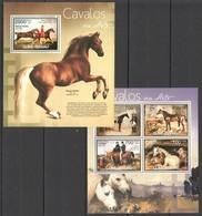 BC446 2012 GUINE GUINEA-BISSAU ANIMALS PETS HORSES CAVALOS NA ARLE KB+BL MNH - Horses