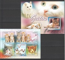 BC808 2010 S.TOME E PRINCIPE GATOS CATS 1BL+1KB MNH - Domestic Cats