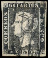 Ø 1. 6 Ctos. Tipo 13. Mat. Provisional 'parrilla' De Madrid. Precioso. Firmado Graus. - 1850-68 Koninkrijk: Isabella II