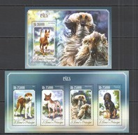 ST1613 2014 S. TOME E PRINCIPE FAUNA ANIMALS PETS DOGS CAES KB+BL MNH - Hunde