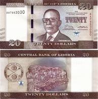 LIBERIA       20 Dollars       P-33a       2016       UNC - Liberia