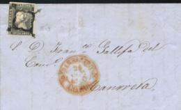Ø 1A(tipo 3) En Carta Circulada De Barbastro A Manresa El 24/10/1850. Mat. Araña. Fechador En Rojo Aceitoso. - Briefe U. Dokumente
