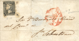 Ø 1A (tipo 19) En Envuelta De Irún A San Sebastián, El 28/3/1850. Mat. Araña Y Fechador Con La Variedad Del 8 Del Día In - Briefe U. Dokumente