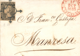 Ø 1A (tipo 27) En Carta De Barcelona A Manresa, El 15/10/1850. Mat. Araña Y Fechador. - 1850-68 Koninkrijk: Isabella II