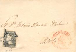 Ø 1A(tipo 38) En Carta De Badajoz A Mérida El 27/9/1850. Mat. Araña Y Fechador. - 1850-68 Koninkrijk: Isabella II