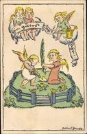 Artiste Cp Glückwunsch Neujahr 1915, Engel Pflanzen Eine Palme - Anno Nuovo
