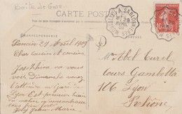 ISERE CP 1909 MONTALIEU A SABLONNIERES + BOITE RURALE SUPPLEMENTAIRE I/2 = SANCIN (CHATEAU) COMMUNE COURTENAY - 1877-1920: Période Semi Moderne