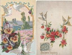 FLEURS - Lot De 8 CPA Gaufrées ( Oiseaux) - Fleurs