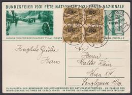 SEHR DEKORATIVER BELEG 1931  / 4er BLOCK NR. 180 AUF BUNDESFEIERKARTE  / FLAWIL - WIEN - Briefe U. Dokumente