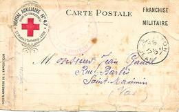 69-cachet Hôpital Aux. N°47 à Lyon Sur CP à En-tête De L'Hôpital En 1917 - Marcophilie (Lettres)