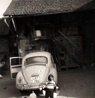 Photo Carrée Originale Volkswagen Käfer - Coccinelle & Gamin & Ses Poules Aux Côtés De La Cox Vers 1960/70 - Coches