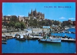 Cpm Cpsm MALLORCA Palma Anime La Catedral Bateaux Port - Mallorca