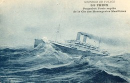 CPA. S.S. PHINX. Paquebot Poste Rapide De La Cie Des Messageries Maritimes. Souvenir De Voyage. Cachet Levant Au Verso. - Paquebots