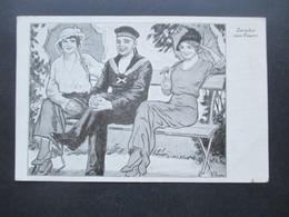 DR Feldpost 1. WK 1916 Künstler AK Marinesoldat Zwischen 2 Frauen / Zwischen Zwei Feuern KD Feldpostxp Der Großh. Hess - Allemagne