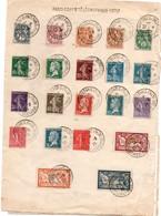 Paris 1925 - BT Conférence Télégraphique Internationale - Grande Feuille Avec 27 Timbres - Marcofilie (Brieven)