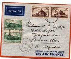 Paris RP Avion 1937 - Lettre Pour Buenos-Aires Avec Mont-Saint-Michel Et Train électrique Congrès Chemin De Fer - Marcophilie (Lettres)