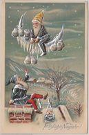 Neujahr - Zwerge Winterlandschaft Mond Farbige Glückwunschkarte Geprägt 1905 - Nouvel An