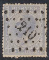 """émission 1865 - N°18 Obl Pt 210 """"Leau"""". TB - 1865-1866 Linksprofil"""
